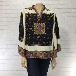 Vintage 70's Paisley Bell Sleeve Blouse Medium EUC